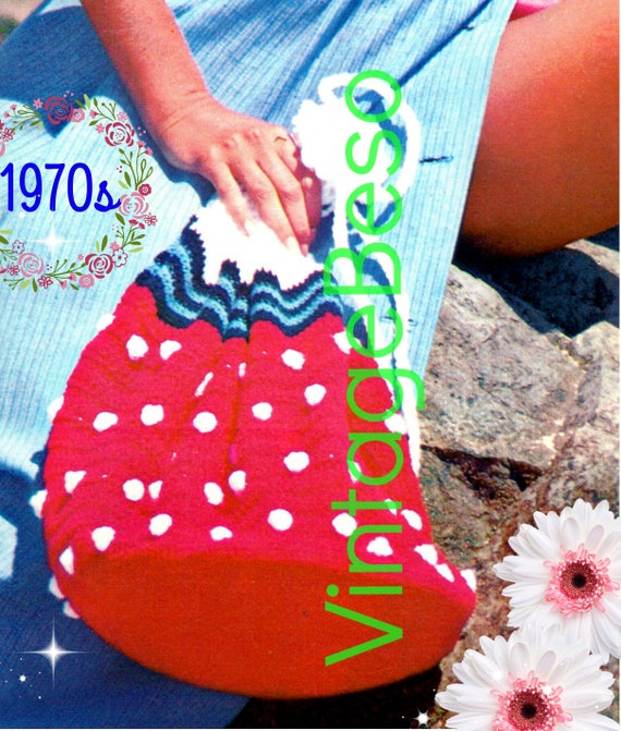 STRAWBERRY Beach Bag Crochet Pattern • Delicious Bag for the Beach or anywhere fun • 1970s Vintage • PdF Pattern • Retro