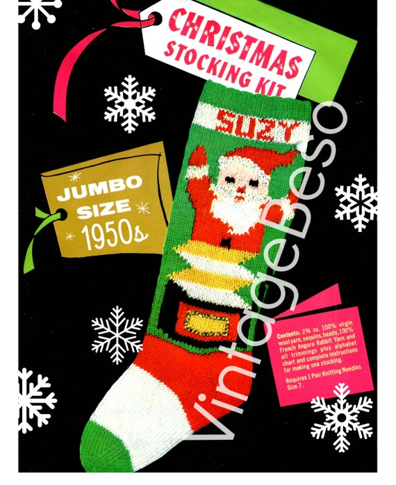INSTANT DOWNlOAD • PdF Pattern • STOCKING Pattern • 1950s Bucilla #7712 • Vintage Knitting Pattern • Retro Christmas Knitting Pattern • Suzy