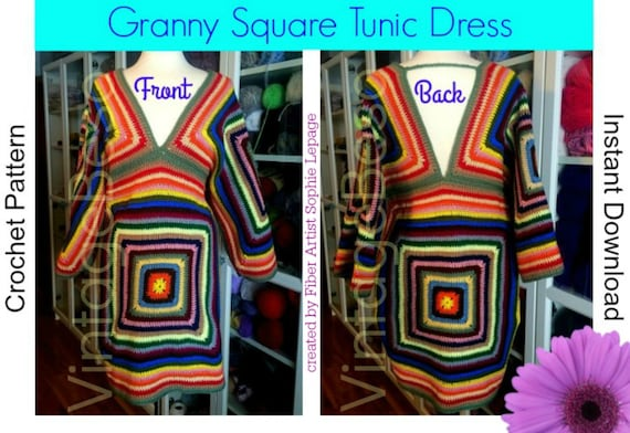 4 Patterns Dress CROCHET PATTERN • INSTANT DOWNlOAD • PdF Pattern • 1970s Granny Square Tunic Sweater Hippie Boho - Vintage Crochet Pattern