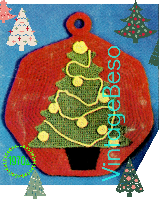 Christmas Tree Potholder Crochet Pattern 1960s Classic Etsy