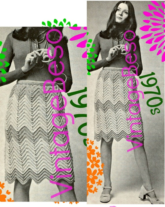 Skirt Crochet Pattern • Boho Skirt • Vintage 1970s • Retro Ripple Skirt • Digital Pattern • PDF Pattern