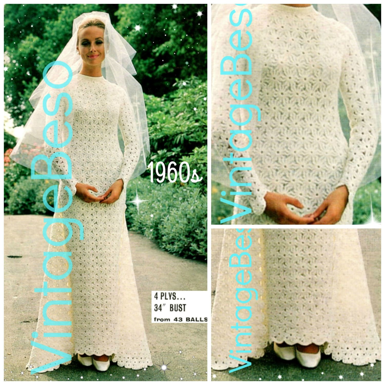 Wedding Dress Crochet Pattern Vintage 1960s Requires Flower