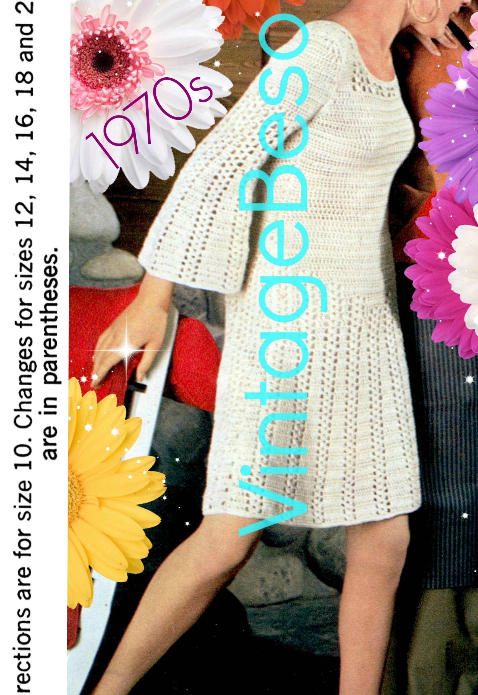 Dress Crochet Pattern Vintage 1970s Twist Bell Sleeve Dress Etsy
