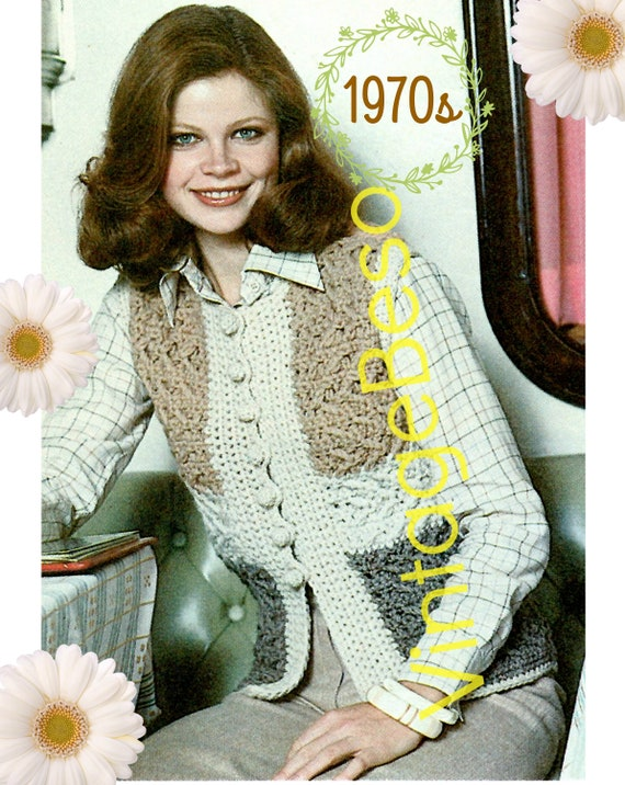 Country Vest Crochet Pattern • Vintage 1970s CROCHET Pattern • Mostly SC and DC plus Fun Crocheted Balls for Buttons • Digital Download