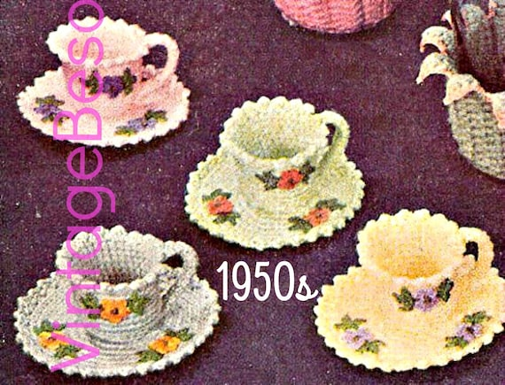 Tea Cup and Saucer Crochet Pattern 1950s Vintage Tea Party Bridal Shower Party Trinket Holder Paperclip Holder • Watermarked PDF Only