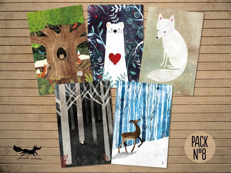 5 Motive á 10 Postkarten 50-er Set Tierpostkarten Ansichtskarten Tiere