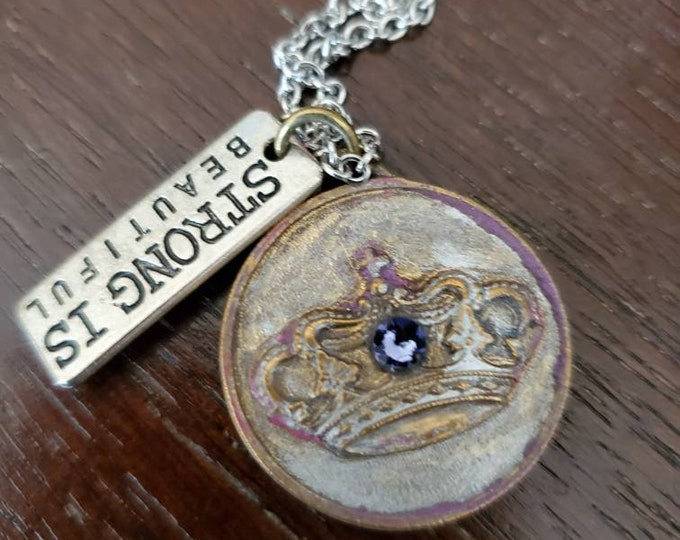 Strong is beautiful vintage crown charm necklace hand made with violet Swarovski crystal