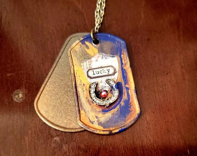 Lucky horseshoe dog tags