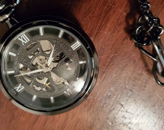 Black skeleton Steampunk pocket watch