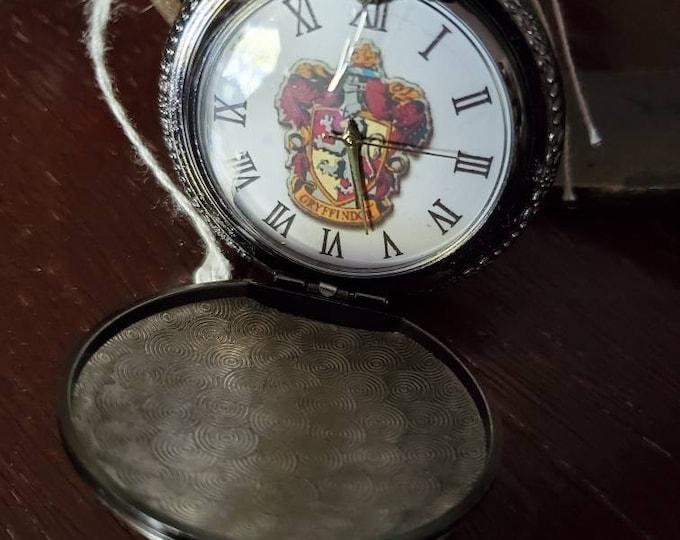 Gryffindor pocket watch gun metal Harry Potter style pocket watch
