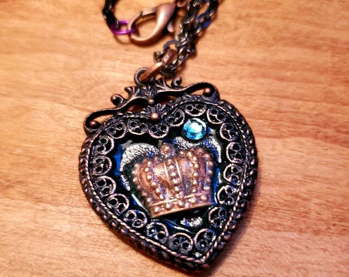 "Antique Copper Pendant ""Royal Heart"" necklace with Swarovski crystal"