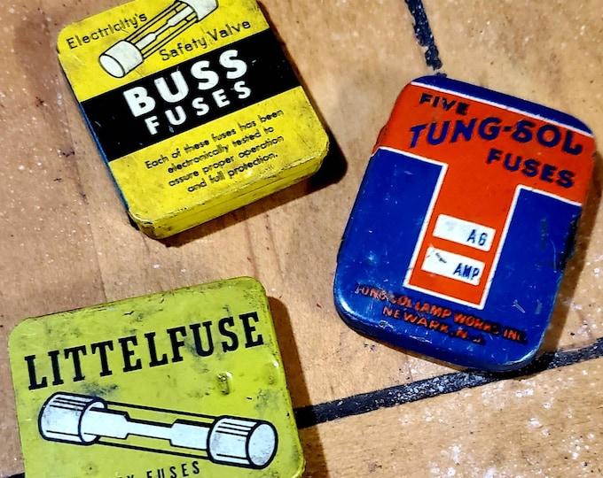 Vintage Fuse tiny tin boxes