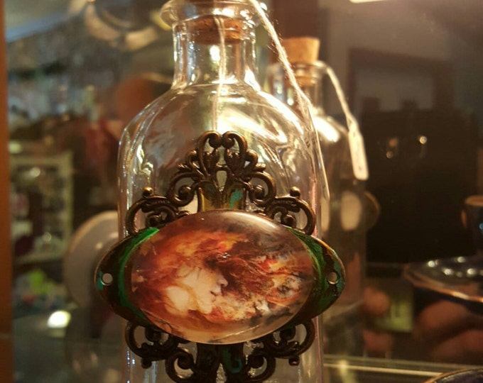 """Red"""" apothecary vintage glass bottle crazy red haired girl"""