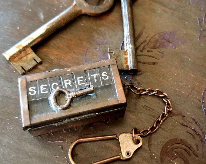 "Secrets"" tiny vintage metal box key chain. Hidden secret box"