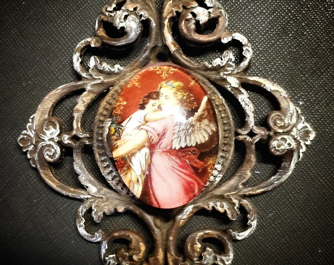 "Handmade miniature wall hanging ""In The Arms Of An Angel"""