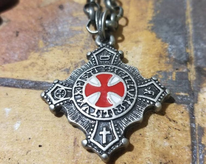Knights Templar necklace with thick rolo chain.