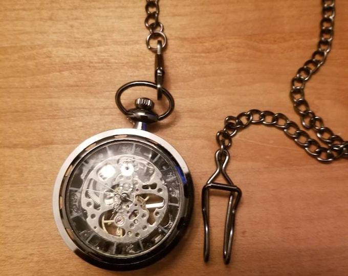 Gun metal skeleton Steampunk pocket watch