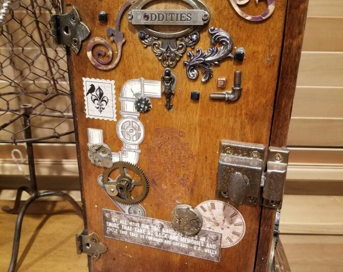 "H.G. Wells ""Oddities"" mini steampunk cabinet wood handmade cabinet"