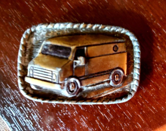 Vintage Brass Van with window belt buckle