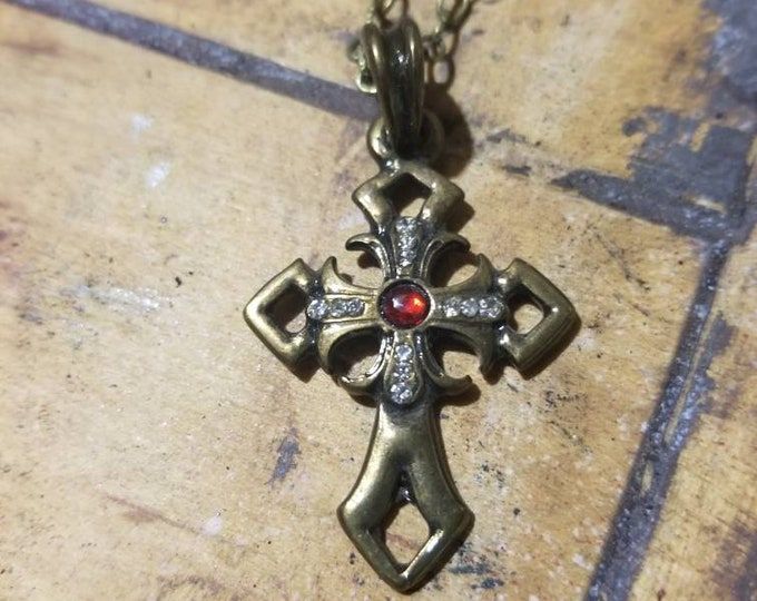 Brass Vintage looking cross with ruby center