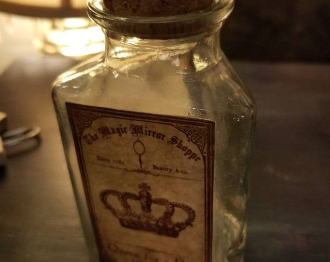 """Magic mirror shop """"Queen for a day"""" potion glass bottle with crown design"""