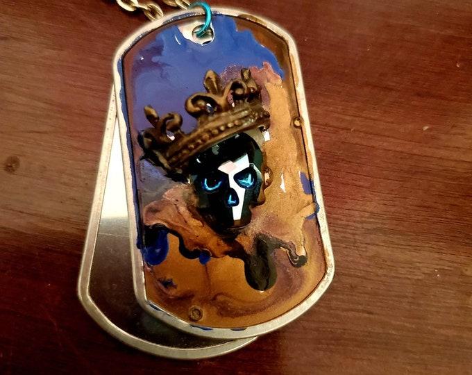 Melting Skull King Dog Tag Necklace