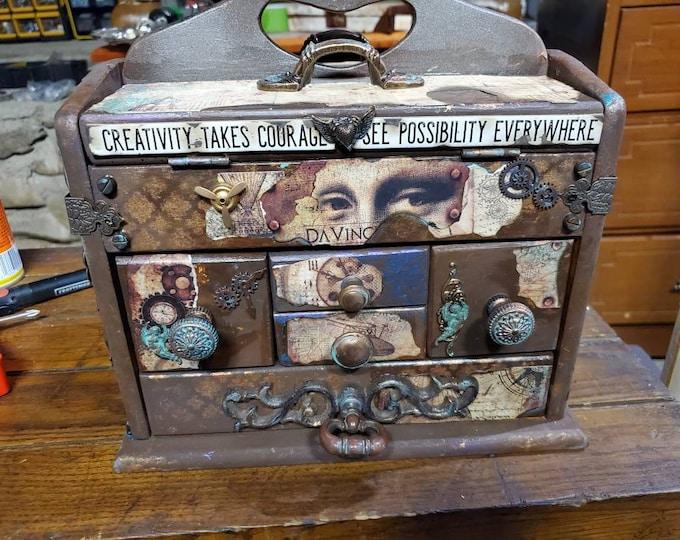 Leonardo DaVinci hand designed vintage sewing box, craft box, art bin, storage, organization