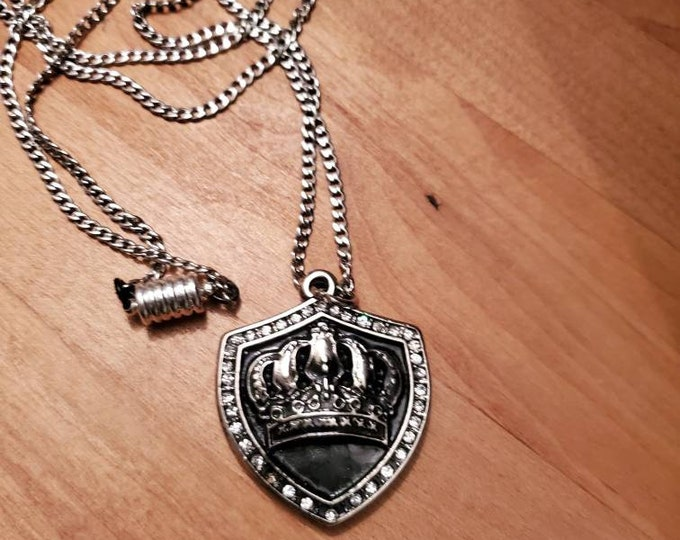 """Royalty"""" Crown on Shield necklace silver and black bling"""
