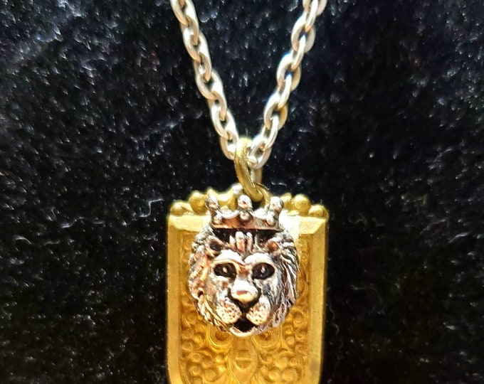 Lion king on shield necklace