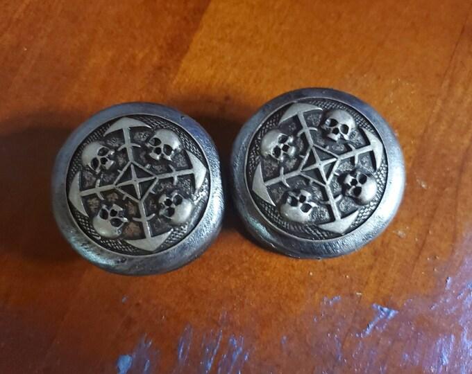 Metal and wood handmade Skull knobs