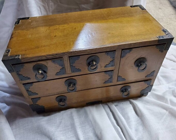 Real Vintage Wood box with 5 small drawers apothecary