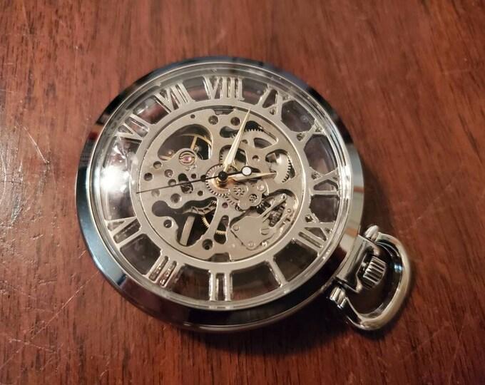 Silver skeleton Steampunk pocket watch