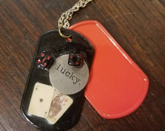 Queen of Hearts' Casino night Lucky charm dog tags Ace of Spades