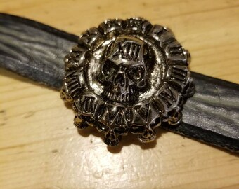 13 Skull Black leather cuff bracelet