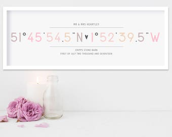 coordinates print, wedding gift, engagement gift, gift for couple, new home gift, latitude longitude, coordinates, gifts for wedding, modern