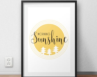 morning sunshine print, good morning print, home print, sunshine quote, black and yellow prints, inspirational quote, home decor, room decor