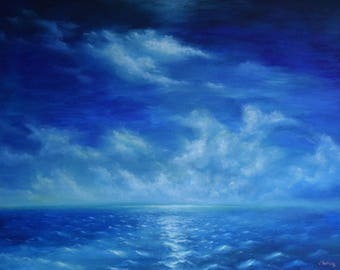 """Original framed Painting """"boundless sea"""" Oil on canvas"""