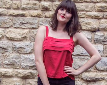 Red vintage classic blouse