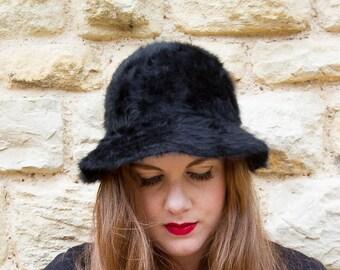 Black velvet bowler hat vintage