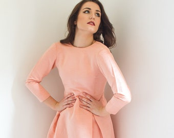 vintage 1960s dress - 60s peach/pink long sleeve dress