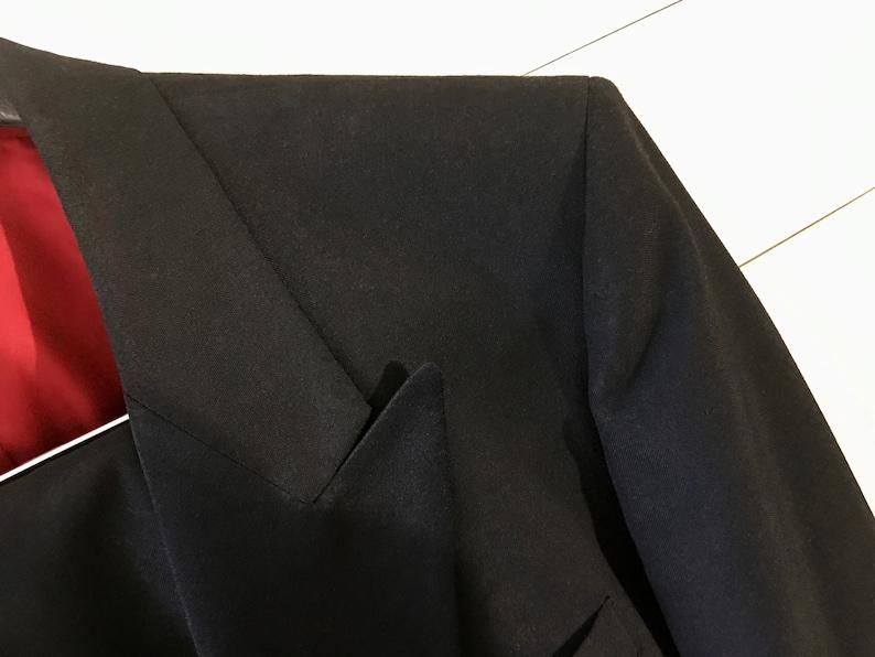 Vintage Tuxedo Complete Set Shirt Black One Button Cuff Links Andre Vachon Bow Tie Suspenders Mens Size M Jacket Cummerbund Pants