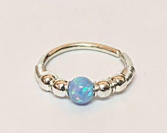 Opal conch piercing, conch earring silver, hoop earring, conch hoop, silver earring conch, conch piercing jewelry, conch ring, conch jewelry