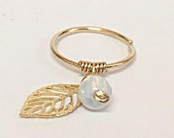 Cartilage earring, opal piercing, Opal Helix Ring, Helix Piercing, Helix Ring, cartilag piercing hoop, Piercing Jewelry, Opal Earring, hoop