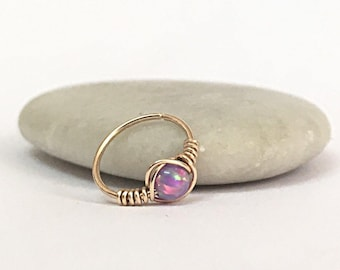 Opal tragus ring, tiny tragus hoop, gold tragus jewelry, tragus earring, silver tragus hoops, tragus earrings gold, tragus piercing jewelry