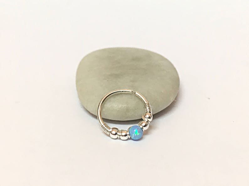 conch piercing jewelry conch earring silver conch ring conch hoop conch jewelry Opal conch piercing silver earring conch hoop earring