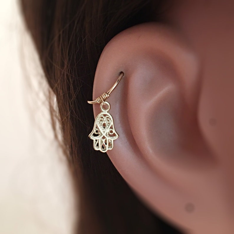 Protection Jewelry 14K Cartilage Hoop Cartilage Earring Helix Hoop Earring 14K Helix Earring Hamsa Jewelry Evil Eye Jewelry For Women