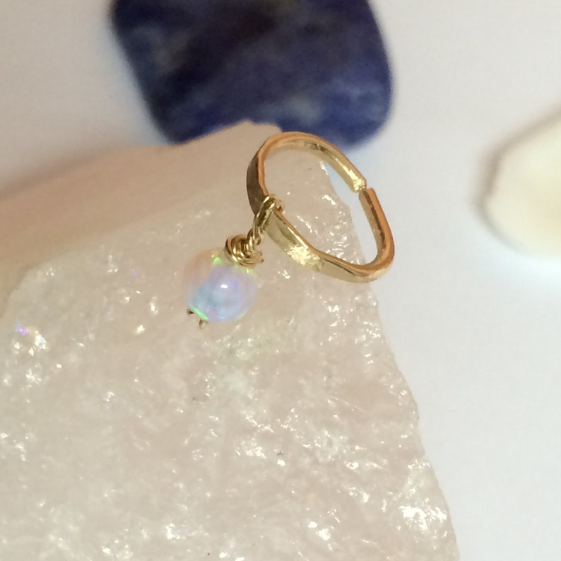 Conch Piercing Jewelry Piercing Ring Conch Hoop 16g Opal Conch Earring Hoop 18g Conch Piercing 16g Hammered Earring Silver Conch Ring