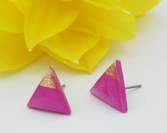 Hot Pink Triangle Stud Earrings, Gold Tipped Triangle Posts, Hypoallergenic Modern Jewelry, Nickel Free Titanium Studs, Ready To Gift