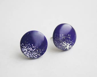 Silver and Ultra Violet Glitter Earrings, Purple Circle Stud Earrings, Hypoallergenic Titanium Post Earrings, Handmade Jewelry
