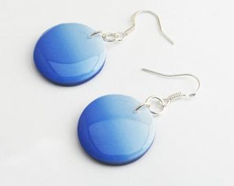 Sky Blue Ombre Earrings, Circle disc earrings, Trendy Statement Earrings, Nickel Free Jewelry, Lightweight Dangle Earrings, Modern Jewelry